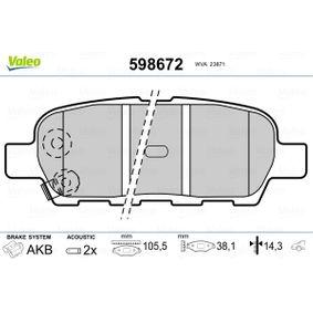 2009 Nissan Qashqai j10 1.5 dCi Brake Pad Set, disc brake 598672