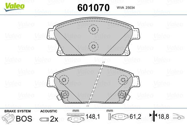 Bremsbeläge 601070 VALEO 601070 in Original Qualität