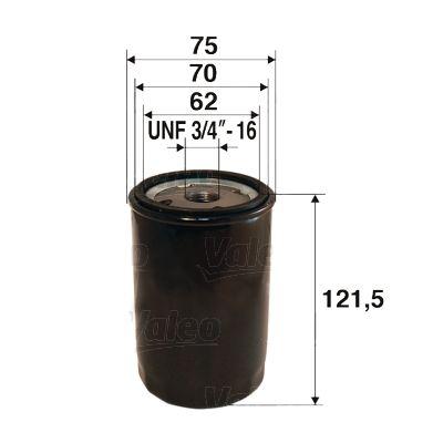 VALEO  586052 Ölfilter Ø: 75mm, Innendurchmesser 2: 70mm, Innendurchmesser 2: 62mm, Höhe: 121,5mm