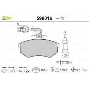 Bremsbelagsatz, Scheibenbremse Breite: 118,9mm, Höhe: 69,6mm, Dicke/Stärke: 16,3mm mit OEM-Nummer 1HM 698 151 A