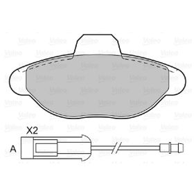 Kit pastiglie freno, Freno a disco (601021) per per Indicatore Direzione Laterale FIAT SEICENTO (187) Elettrica dal Anno 03.2000 30 CV di VALEO