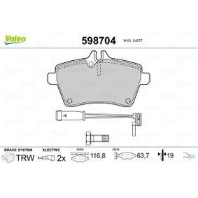 Bremsbelagsatz, Scheibenbremse Breite 1: 116,8mm, Höhe 1: 63,7mm, Dicke/Stärke 1: 19mm mit OEM-Nummer 1694200220