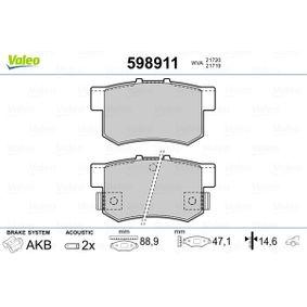 Fékbetét készlet, tárcsafék 598911 SWIFT 3 (MZ, EZ) 1.3 4x4 (RS 413) Év 2011