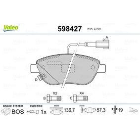 Bremsbelagsatz, Scheibenbremse Breite 1: 136,7mm, Höhe 1: 57,34mm, Dicke/Stärke 1: 19mm mit OEM-Nummer 7 736 3992
