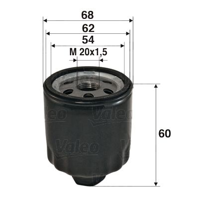 VALEO  586011 Ölfilter Ø: 68mm, Innendurchmesser 2: 62mm, Innendurchmesser 2: 54mm, Höhe: 60mm