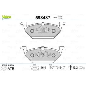 Bremsbelagsatz, Scheibenbremse Breite 1: 146,4mm, Höhe 1: 54,7mm, Dicke/Stärke 1: 19,2mm mit OEM-Nummer 1S0698151C