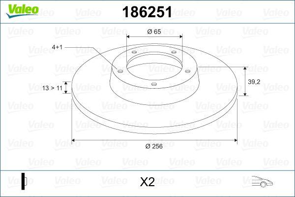 Bremsscheiben 186251 VALEO DF555 in Original Qualität
