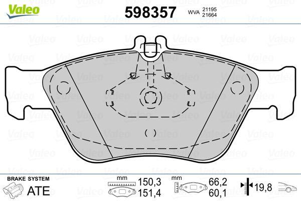 Bremsbeläge 598357 VALEO 21195 in Original Qualität