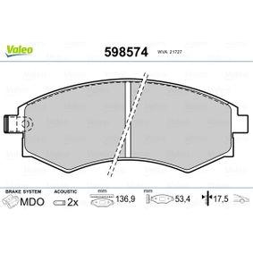 Bremsbelagsatz, Scheibenbremse Breite: 136,9mm, Höhe: 53,4mm, Dicke/Stärke: 17,5mm mit OEM-Nummer 58101-29A80
