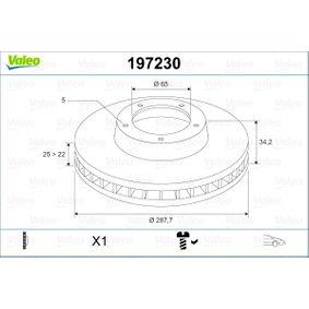 Bremsscheibe Bremsscheibendicke: 25mm, Felge: 5-loch, Ø: 287,7mm mit OEM-Nummer 1J0 615 301 K