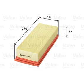 Air Filter Length: 268, 270mm, Width: 108mm, Height: 57mm, Length: 268, 270mm with OEM Number 1654 6BN 701
