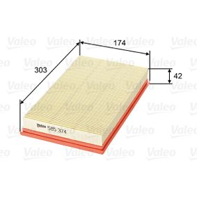 Air Filter Length: 303mm, Width: 174mm, Height: 42mm, Length: 303mm with OEM Number 16546 BN701