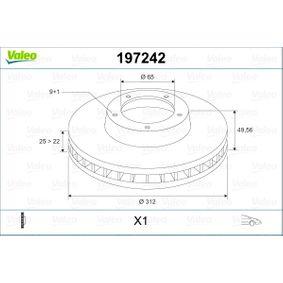 Bremsscheibe Bremsscheibendicke: 25mm, Felge: 5-loch, Ø: 312mm mit OEM-Nummer 1K0 615301AA