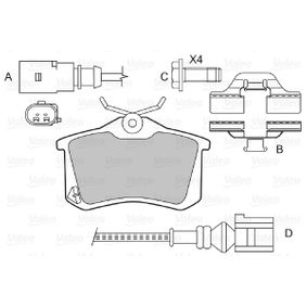 Bremsbelagsatz, Scheibenbremse Breite: 87mm, Höhe: 52,8mm, Dicke/Stärke: 17,2mm mit OEM-Nummer 8D0698451B
