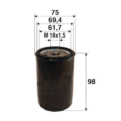 VALEO  586078 Ölfilter Ø: 75mm, Innendurchmesser 2: 69,4mm, Innendurchmesser 2: 61,7mm, Höhe: 98mm