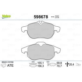 Bremsbelagsatz, Scheibenbremse Breite 1: 155,1mm, Breite 2: 156,3mm, Höhe 1: 69,8mm, Höhe 2: 70,7mm, Dicke/Stärke 2: 20,4mm mit OEM-Nummer 93 18 5751