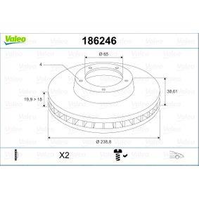 Bremsscheibe Bremsscheibendicke: 19,9mm, Felge: 4-loch, Ø: 238,8mm mit OEM-Nummer 321 615 301 C