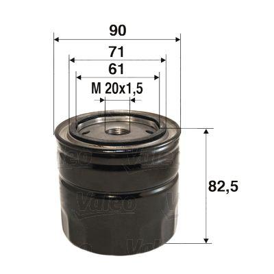 VALEO  586016 Ölfilter Ø: 90mm, Innendurchmesser 2: 71mm, Innendurchmesser 2: 61mm, Höhe: 82,5mm