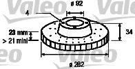 VALEO  186439 Bremsscheibe Bremsscheibendicke: 23mm, Felge: 4-loch, Ø: 282mm