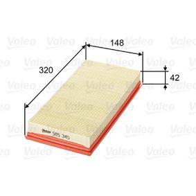 Luftfilter Länge: 320mm, Breite: 148mm, Höhe: 42mm mit OEM-Nummer 3785586