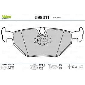 Bremsbelagsatz, Scheibenbremse Breite 1: 121,9mm, Breite 2: 123mm, Höhe 2: 44,97mm, Dicke/Stärke 2: 17,3mm mit OEM-Nummer 3421 1 163 395