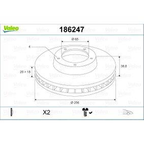 Bremsscheibe Bremsscheibendicke: 20mm, Felge: 4-loch, Ø: 256mm mit OEM-Nummer 357 615 301D