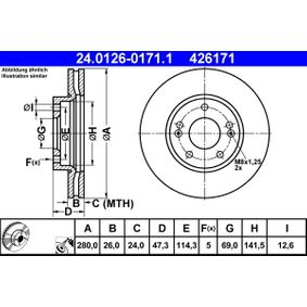 Brake Disc Brake Disc Thickness: 26,0mm, Num. of holes: 5, Ø: 280,0mm with OEM Number 517 121 D100