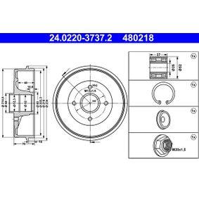 Renault Twingo 2 1.2 (CN0D) Bremstrommel ATE 24.0220-3737.2 (1.2 Benzin 2008 D7F 800)