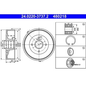 Renault Twingo 2 1.2 Turbo (CN0C, CN0F) Bremstrommel ATE 24.0220-3737.2 (1.2 Turbo Benzin 2012 D4F 782)