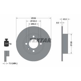 TEXTAR  92010500 Bremsscheibe Bremsscheibendicke: 8,0mm, Ø: 239mm