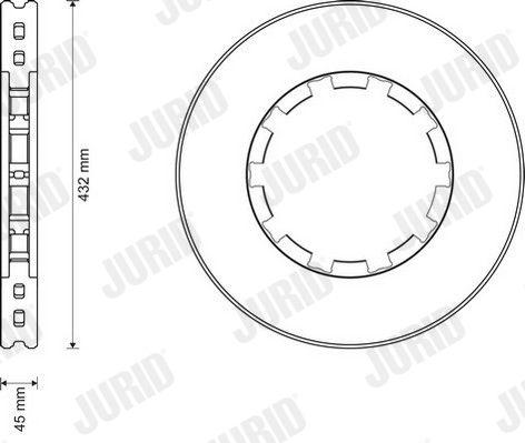 JURID  569157J Bremsscheibe Bremsscheibendicke: 45mm, Lochanzahl: 1, Ø: 432mm