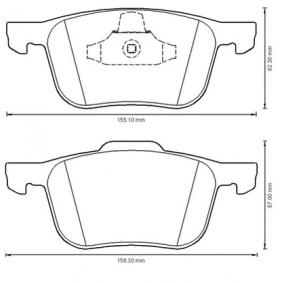 Bremsbelagsatz, Scheibenbremse Höhe 1: 67mm, Höhe 2: 62mm, Dicke/Stärke: 17,5mm mit OEM-Nummer 1820037