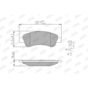 Brake Pad Set, disc brake Height 1: 50,8mm, Thickness: 19mm with OEM Number 1613192280