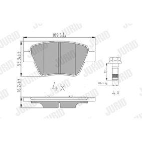 Bremsbelagsatz, Scheibenbremse Höhe 1: 54mm, Dicke/Stärke: 16,3mm mit OEM-Nummer 5K0 698 451C