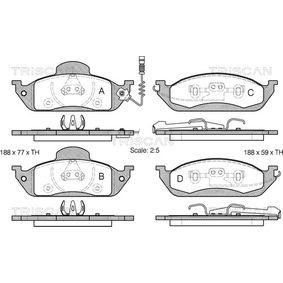Bremsbelagsatz, Scheibenbremse Breite: 188mm, Höhe: 77mm, Dicke/Stärke: 16mm mit OEM-Nummer 416 342 00 32