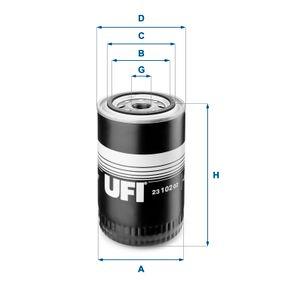 UFI  23.102.02 Ölfilter Ø: 96,0mm, Außendurchmesser 2: 72,0mm, Innendurchmesser 2: 62,0mm, Höhe: 145,5mm