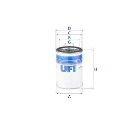 UFI  23.117.00 Filtre à huile Ø: 76,0mm, Diamètre extérieur 2: 71,0mm, Diamètre intérieur 2: 61,0mm, Hauteur: 123,0mm