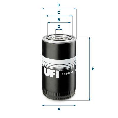 UFI  23.156.00 Ölfilter Ø: 96mm, Außendurchmesser 2: 72mm, Innendurchmesser 2: 62mm, Höhe: 174mm