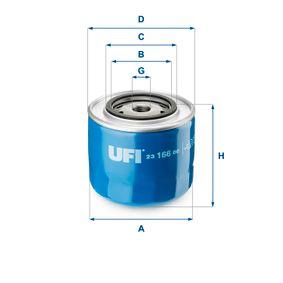 UFI  23.166.00 Ölfilter Ø: 108,0mm, Außendurchmesser 2: 72,0mm, Innendurchmesser 2: 62,0mm, Höhe: 97,0mm