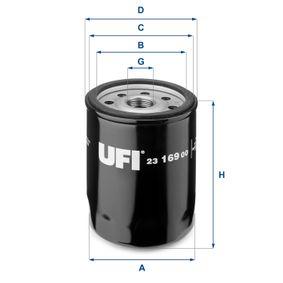 UFI  23.169.00 Ölfilter Ø: 75,0mm, Außendurchmesser 2: 71,5mm, Innendurchmesser 2: 62,0mm, Höhe: 97,0mm