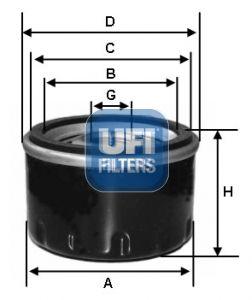 UFI  23.184.00 Ölfilter Ø: 76mm, Außendurchmesser 2: 66mm, Innendurchmesser 2: 56mm, Höhe: 74mm