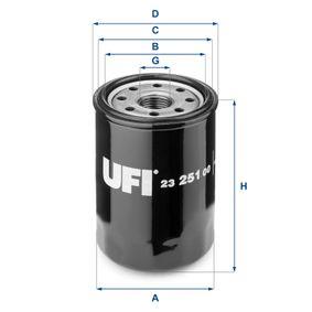 UFI  23.251.00 Ölfilter Ø: 65,5mm, Außendurchmesser 2: 62,0mm, Innendurchmesser 2: 52,0mm, Höhe: 90,5mm