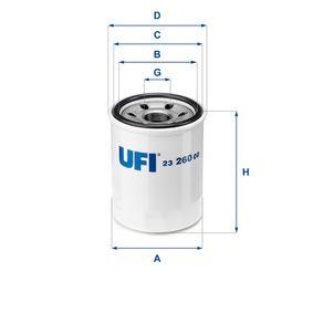 UFI  23.260.00 Ölfilter Ø: 68,0mm, Außendurchmesser 2: 65,5mm, Innendurchmesser 2: 57,5mm, Höhe: 85,5mm