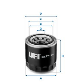 Ölfilter Ø: 80mm, Außendurchmesser 2: 64mm, Innendurchmesser 2: 57mm, Höhe: 76,5mm mit OEM-Nummer 15400-PC6004