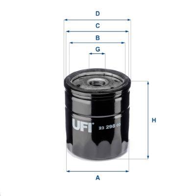 UFI  23.298.00 Ölfilter Ø: 76mm, Außendurchmesser 2: 71mm, Innendurchmesser 2: 61mm, Höhe: 80,5mm