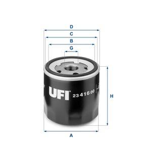 UFI  23.416.00 Ölfilter Ø: 76,0mm, Außendurchmesser 2: 71,0mm, Innendurchmesser 2: 61,0mm, Höhe: 80,5mm