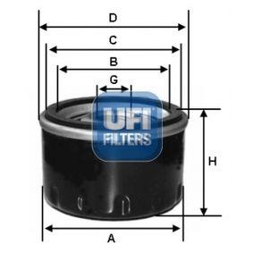UFI  23.434.00 Ölfilter Ø: 91,0mm, Außendurchmesser 2: 72,0mm, Innendurchmesser 2: 62,0mm, Höhe: 80,0mm