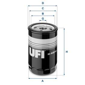 UFI  23.440.00 Ölfilter Ø: 76,0mm, Außendurchmesser 2: 71,0mm, Innendurchmesser 2: 61,0mm, Höhe: 123,0mm