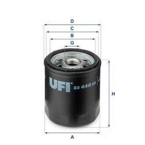 UFI  23.449.00 Ölfilter Ø: 76,0mm, Außendurchmesser 2: 71,0mm, Innendurchmesser 2: 61,0mm, Höhe: 87,5mm