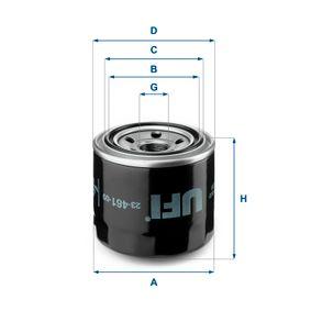 UFI  23.461.00 Ölfilter Ø: 80,5mm, Außendurchmesser 2: 65,0mm, Innendurchmesser 2: 57,0mm, Höhe: 76,0mm
